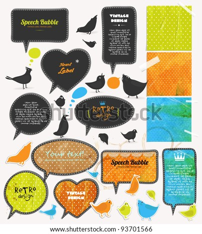 Speech bubbles and birds set, old paper textures. - stock vector