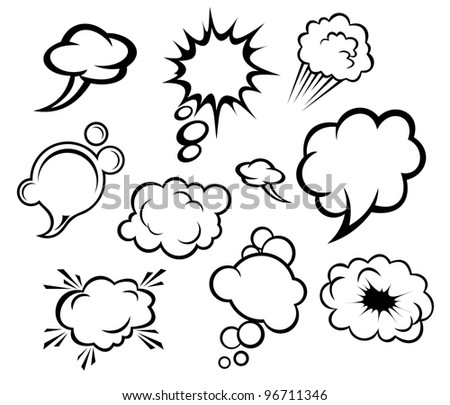 Speech bubbles and clouds set in cartoon style. Jpeg version also available in gallery - stock vector