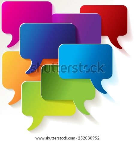 speech bubbles colorful shields - stock vector