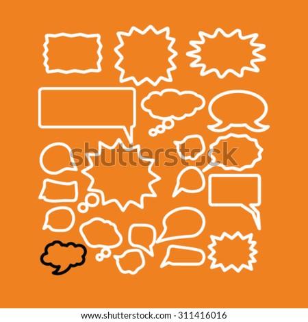 speech, bubbles concept icons, signs set, vector - stock vector
