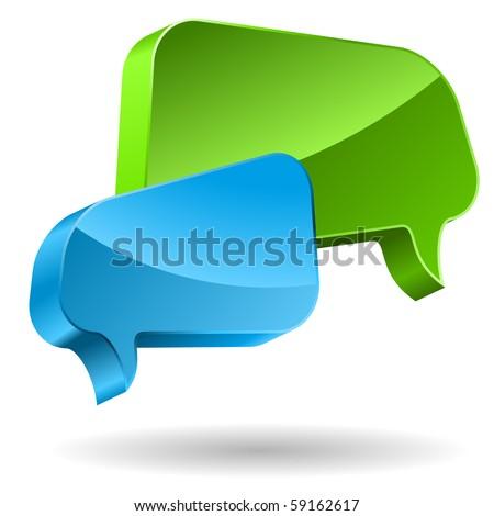 Speech bubbles 3D icon. - stock vector