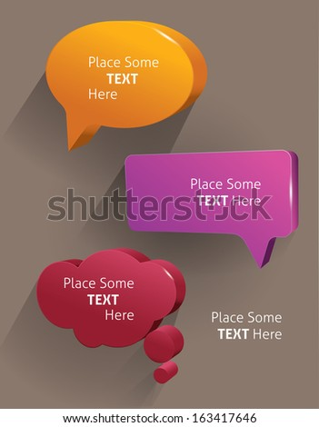 Speech bubbles 3d. Vector illustration - stock vector