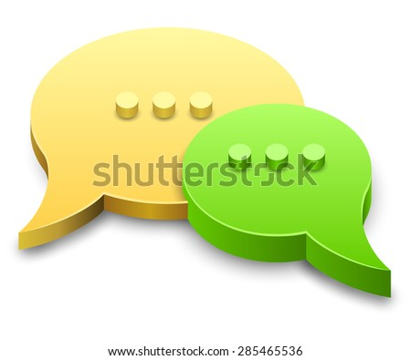 Speech bubbles 3D vector sign isolated on white background. - stock vector