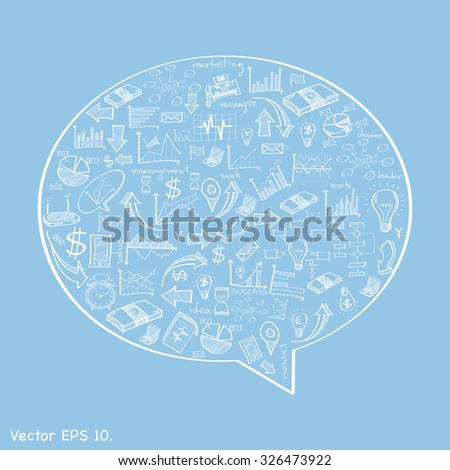 Speech Bubbles Design with Creative doodle web icons, business icons, technology icons and strategy planning icons Idea, Vector Illustration EPS 10. - stock vector