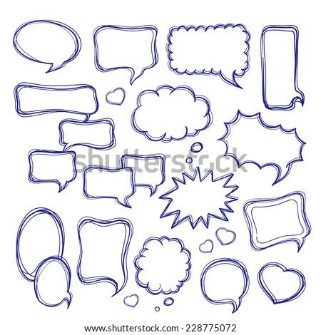 Speech bubbles doodles set - stock vector