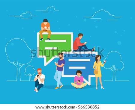 Speech bubbles for comment anf reply concept flat vector illustration of young people using mobile smartphone for texting and leaving comments in social networks. Guys and women sitting on big symbols