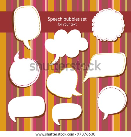 Speech bubbles frames set - stock vector