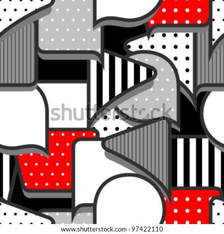 speech bubbles grey red seamless pattern - stock vector