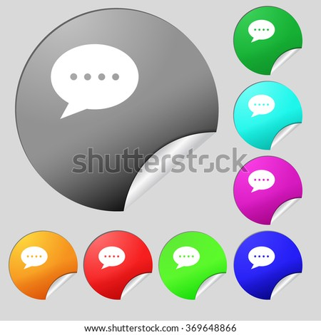 Speech bubbles icon sign. Set of eight multi colored round buttons, stickers. Vector illustration - stock vector