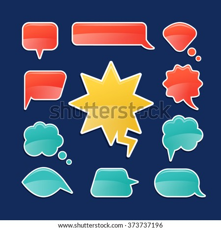 Speech bubbles in cartoon style. Colorful speech bubble icons on blue background. Vector illustration - stock vector