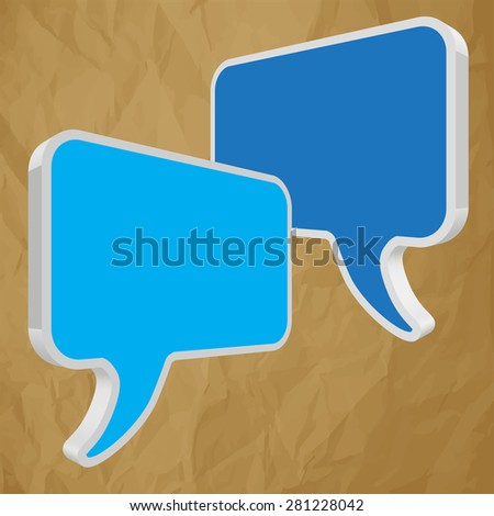 speech bubbles in perspective blue on crumpled paper brown background - stock vector