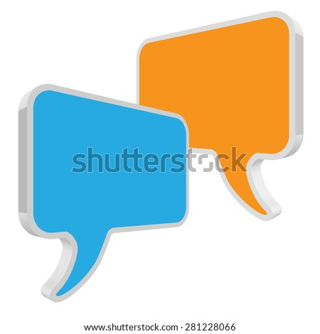 speech bubbles in perspective blue yellow - stock vector