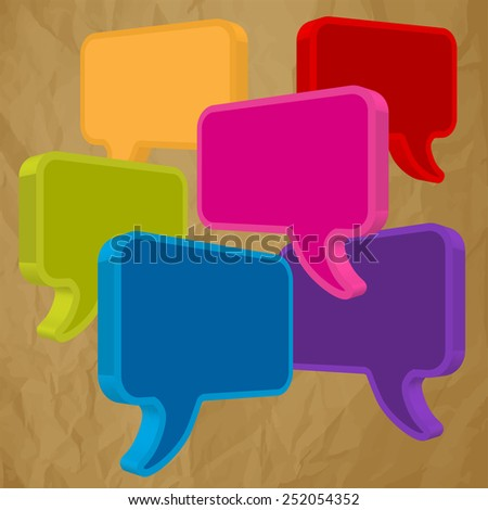 speech bubbles in perspective colorful on crumpled paper brown - stock vector