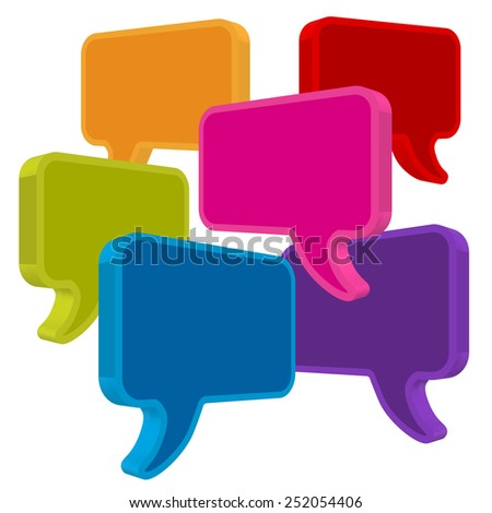 speech bubbles in perspective colorful on white background - stock vector