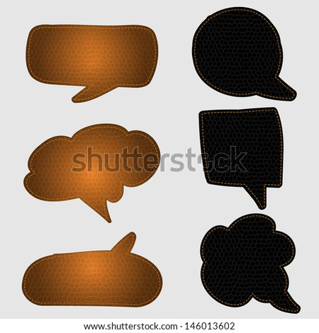 Speech bubbles of leather texture, Vector Illustration