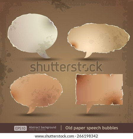 Speech bubbles old paper - stock vector