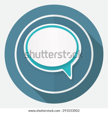 speech bubbles on white circle with a long shadow - stock vector