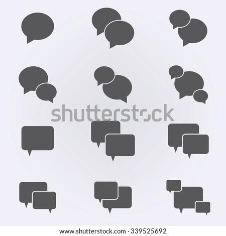 Speech bubbles or message icon set . Vector illustration - stock vector