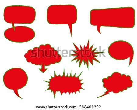 Speech Bubbles or Thought Bubbles Hand Drawn - Illustration - stock vector