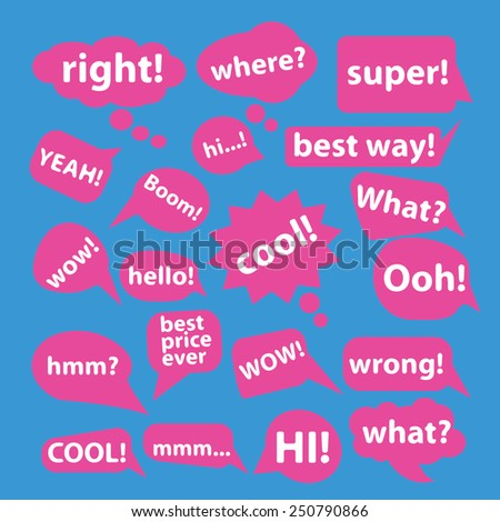 speech bubbles, question flat icons, signs, illustrations design concept vector set - stock vector