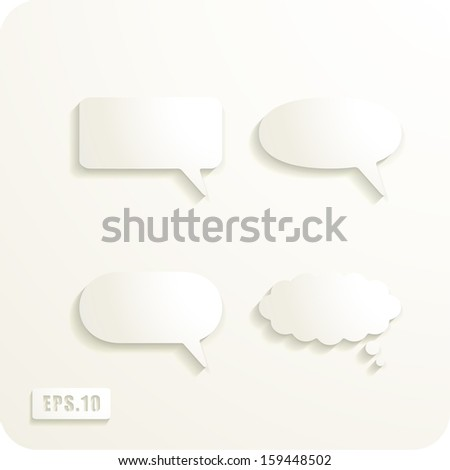 Speech Bubbles. Set of cut paper vector speech bubbles. Eps 10.