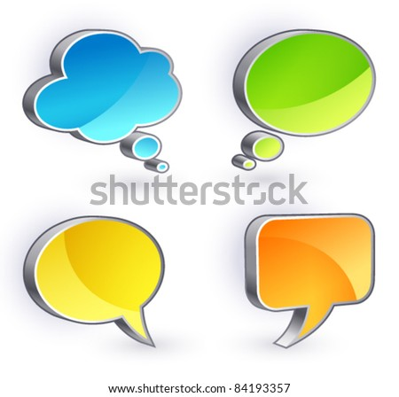 Speech Bubbles set on a white background - stock vector
