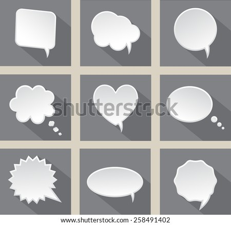 Speech bubbles set.Speech bubbles with shadow.Abstract vector illustration.
