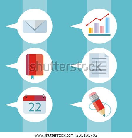Speech bubbles set with pictograms of letter, graph, notebook, calendar and pencil - stock vector