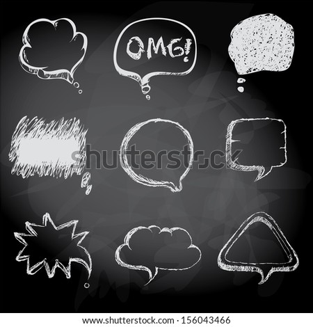 speech bubbles Sketch style on chalk board background - stock vector