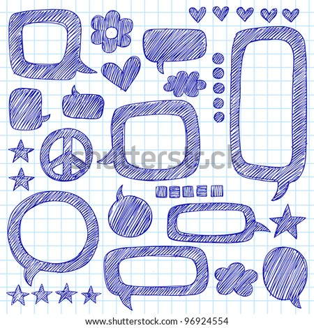 Speech Bubbles Sketchy Doodle Hand-Drawn Icon Set- Vector Illustration Design Elements on Lined Sketchbook Paper Background - stock vector