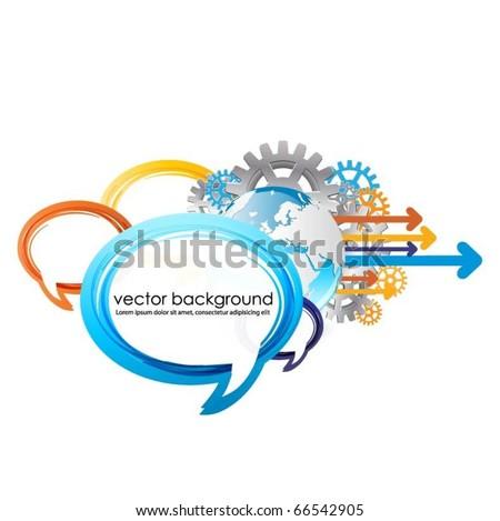 speech bubbles vector design with globe - stock vector