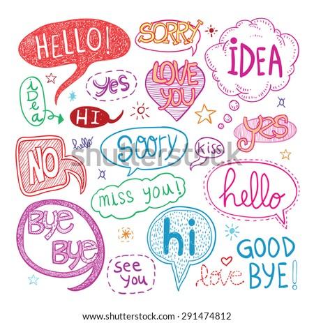 speech bubbles, vector illustration. - stock vector