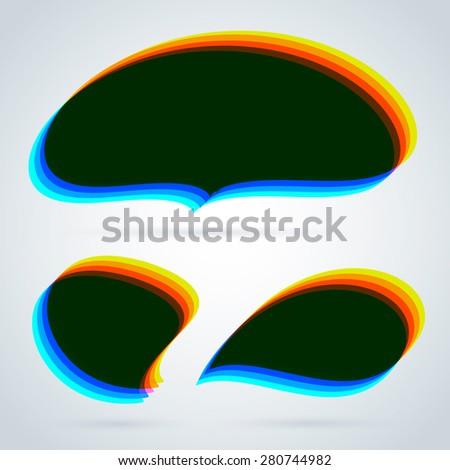 Speech bubbles web template. Mixed colors. Multiply blend mode. - stock vector