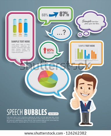 Speech Bubbles with businessman - stock vector