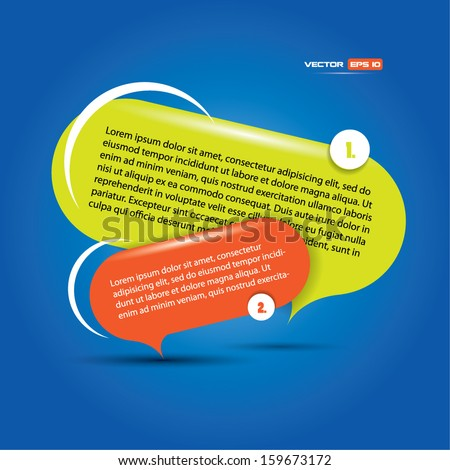 Speech bubbles with colorful composition and high contrast - stock vector