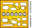 Speech bubbles with emoticons. - stock vector