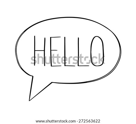 "Speech bubbles with ""hello"" word, hand drawn vector - stock vector"