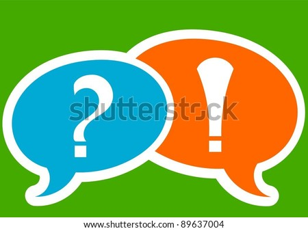 speech bubbles with question and exclamation mark - stock vector