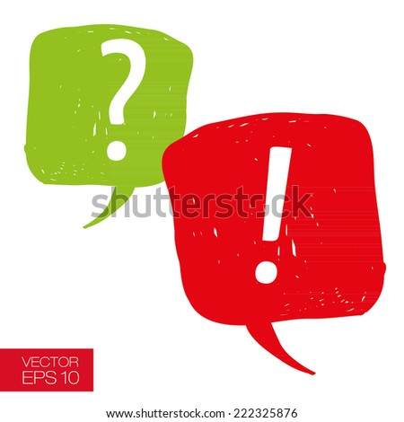 Speech bubbles with question and exclamation mark hand drawn careless casual style vector illustration - stock vector