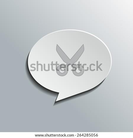 Speech bubbles with scissors (cut) sign, vector design for website, 3D effekt - stock vector