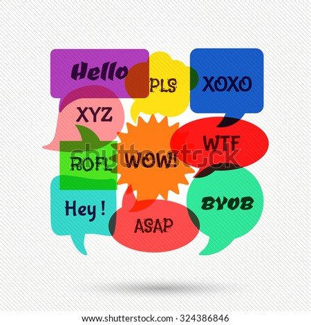 Speech bubbles with short messages. Communication dialog, discussion sign, web chat. Vector illustration