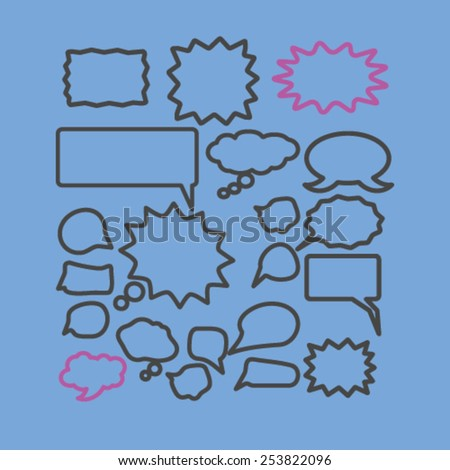 speech, chat, bubbles isolated flat icons, signs, symbols illustrations, images, silhouettes on background, vector - stock vector