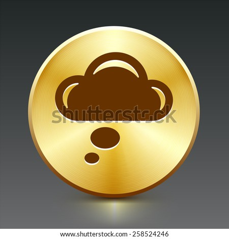 Speech Cloud on Gold Round Button - stock vector