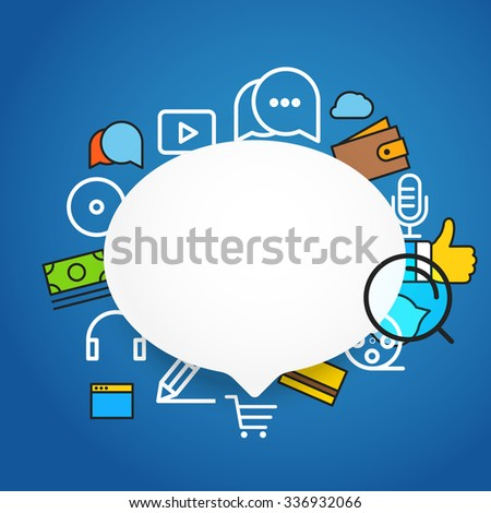 Speech cloud template with different icons. Add your content on it - stock vector
