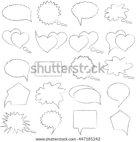 Speech, conversation, thoughts blank template. Romantic chat. Set of isolated elements of the dialogue on a white background. Collection bubbles messages. Vector illustration. - stock vector
