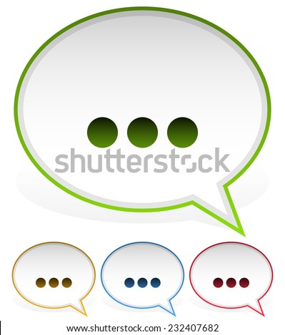 Speech, talk bubbles with ellipsis  - stock vector