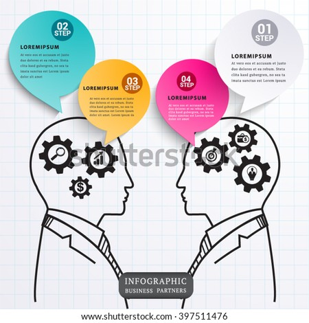 Speech talk business partners. infographic element design and business concept.can used for banner,infographic,data,presentation business,chart,sign,brochure,leaflet ,web,diagram. Vector illustration.