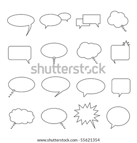Speech, thought and talk balloons and bubbles - stock vector