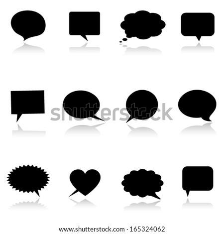 Speech/thought bubbles with reflection. Vector illustration. - stock vector