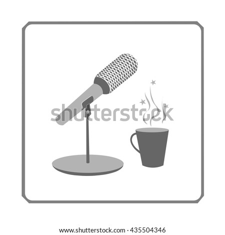 speech to the people through a microphone - stock vector
